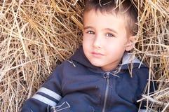 Little boy in haystack Stock Photos