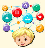 Little boy head and science symbols Royalty Free Stock Photography