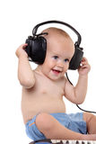 Little boy in headphones royalty free stock photos