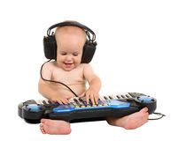 Little boy in headphones Royalty Free Stock Photography