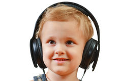 Little boy with headphones Stock Photo