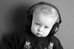 A little boy with headphones Royalty Free Stock Photo