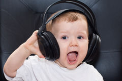 Little boy with headphones Royalty Free Stock Photography