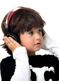 Little boy with headphones Royalty Free Stock Images