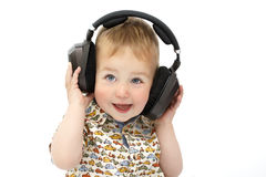 Little boy in headphones royalty free stock image