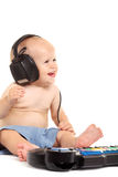 Little boy in headphones on the white Stock Photo