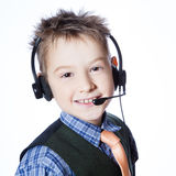 Little boy with headset Royalty Free Stock Photography