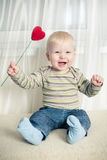 Little boy with heart stock image