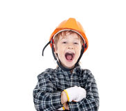 Little boy with helmet Stock Image