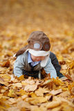 Little boy in helmet pilot Stock Photography