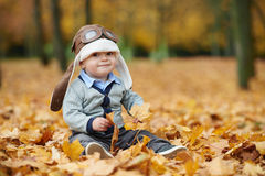 Little boy in helmet pilot Royalty Free Stock Photos