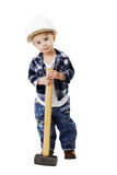 Little boy in a helmet with a sledge hammer Stock Image