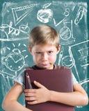 Little Boy-het Symbool van Prodigy Chalki van het Boekkind Stock Afbeeldingen