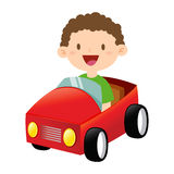 Little Boy heureux montant Toy Car Photo libre de droits
