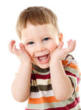 Little boy hide face under hands Royalty Free Stock Images