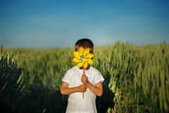 Little boy hides behind yellow pinwheel on blue sky and green field background Stock Photo