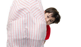Little boy is hiding his mother Royalty Free Stock Photography