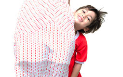 Little boy is hiding  his mother Stock Photo