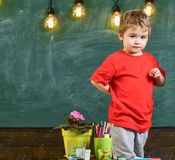Little boy hiding something behind his back. Concentrated kid standing at the table.  Stock Images