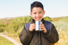 Little boy hiking in the mountains Royalty Free Stock Photos