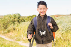 Little boy hiking in the mountains Stock Image