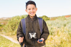 Little boy hiking in the mountains Royalty Free Stock Images