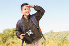 Little boy hiking in the mountains Stock Photography