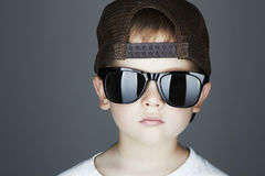 Little boy.Hip-Hop Style. fashion children.handsome in sunglasses.Young Rapper Stock Image