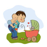 Little boy and his baby brother. Illustration in  format Stock Photo