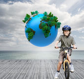 Little boy with his bike in a park Stock Photography