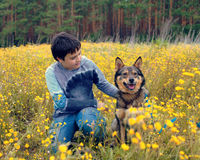 Little boy with his dog Royalty Free Stock Photo