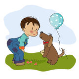 Little boy and his dog, birthday card Royalty Free Stock Image