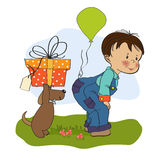 Little boy and his dog, birthday card Stock Images