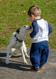 Little boy and his dog stock image