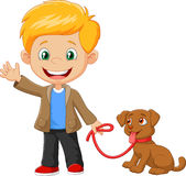 Little boy with his dog isolated on white background Stock Photography
