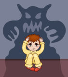 Little boy and his fear. Vector cartoon illustration Stock Image