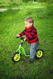 Little boy on his first bike Stock Photo