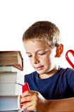 Little boy and his homework Royalty Free Stock Photos