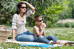 Little boy with his mom at picnic. Pretty young women sitting on grass with her son Royalty Free Stock Photo