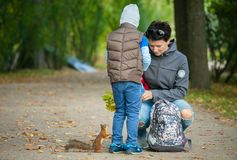 Little boy with his mother feeding a squirrel at a park. Сhild of five years is going to give some acorns for a squirrel in autumn park. The squirrel is waiting Stock Photo