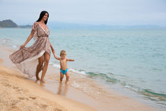 Little boy and his mother at the sea Royalty Free Stock Photo