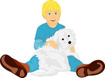 Little boy with his  puppy Stock Image