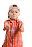 Little boy with his thumbs up Stock Photography
