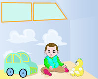 Little boy and his toys. Illustration of little boy and his toys in the corner of the room Stock Images