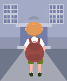 Little boy on his way to school vector cartoon. Little boy on his way to school - funny vector cartoon illustration Royalty Free Stock Images