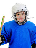 Little Boy Hockey Player. Isolated on white background stock image