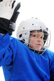 Little Boy Hockey Player. Isolated on white background stock photos