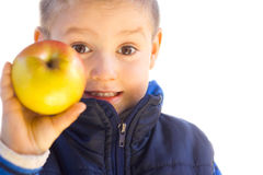 Little boy holding  apple Royalty Free Stock Photo