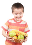 Little boy holding apples Royalty Free Stock Images