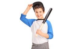 Little boy holding a baseball bat Stock Image